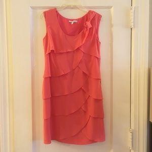 Cynthia Steffe Coral Ruffle Silk Dress